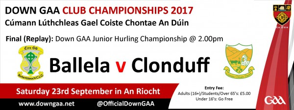 NOTICE: JUNIOR HURLING CHAMPIONSHIP REPLAY REFIXED FOR AN RIOCHT