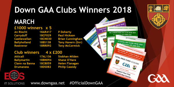 Down Clubs Draw 2018 May Winners